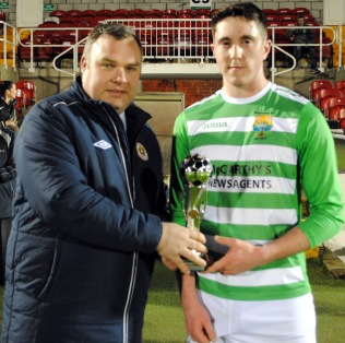 Sean Quinn, Macroom B, receiving the Man of the Match award from Kevin O'Mahony, Cork AUL - President's Cup 2017